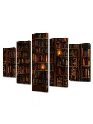 Set Tablouri Multicanvas 5 Piese Abstract Decorativ Biblioteca
