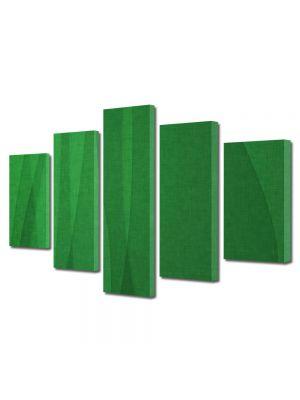 Set Tablouri Multicanvas 5 Piese Abstract Decorativ Matase verde