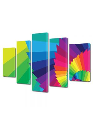 Set Tablouri Multicanvas 5 Piese Abstract Decorativ Elicoidal