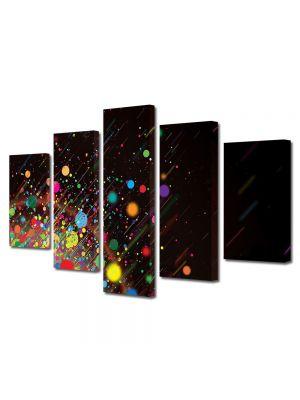 Set Tablouri Multicanvas 5 Piese Abstract Decorativ Stropi de culoare