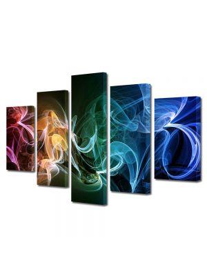 Set Tablouri Multicanvas 5 Piese Abstract Decorativ Fum multicolor