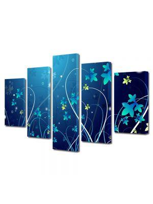 Set Tablouri Multicanvas 5 Piese Abstract Decorativ Flori