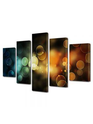 Set Tablouri Multicanvas 5 Piese Abstract Decorativ Lumini