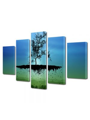 Set Tablouri Multicanvas 5 Piese Abstract Decorativ Copac plutitor
