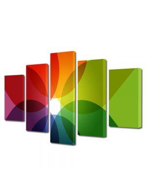 Set Tablouri Multicanvas 5 Piese Abstract Decorativ Nuante de culoare
