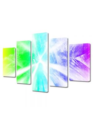Set Tablouri Multicanvas 5 Piese Abstract Decorativ Raze de lumina