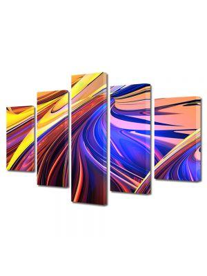 Set Tablouri Multicanvas 5 Piese Abstract Decorativ Forme abstracte