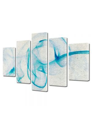 Set Tablouri Multicanvas 5 Piese Abstract Decorativ Fum bleu