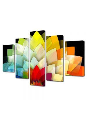 Set Tablouri Multicanvas 5 Piese Abstract Decorativ Floare stilizata