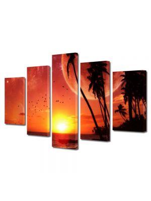 Set Tablouri Multicanvas 5 Piese Abstract Decorativ Apus pe plaja