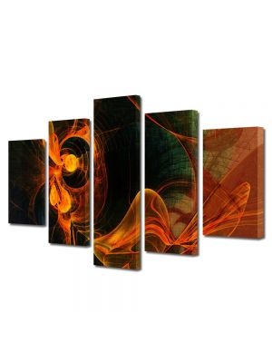 Set Tablouri Multicanvas 5 Piese Abstract Decorativ Foc