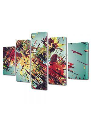 Set Tablouri Multicanvas 5 Piese Abstract Decorativ Vintage abstract