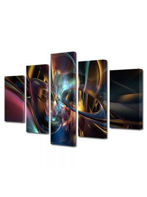 Set Tablouri Multicanvas 5 Piese Abstract Decorativ Lumini si forme