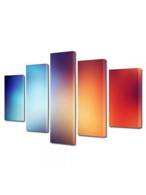 Set Tablouri Multicanvas 5 Piese Abstract Decorativ Rosu si albastru