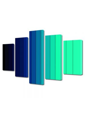 Set Tablouri Multicanvas 5 Piese Abstract Decorativ Dungi albastre