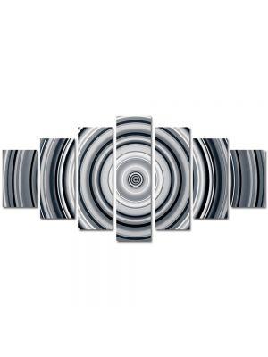 Set Tablouri Multicanvas 7 Piese Abstract Decorativ Cercuri B&W