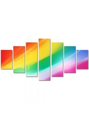 Set Tablouri Multicanvas 7 Piese Abstract Decorativ Culorile curcubeului