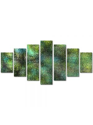 Set Tablouri Multicanvas 7 Piese Abstract Decorativ Verde scurs