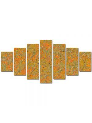 Set Tablouri Multicanvas 7 Piese Abstract Decorativ Textura portocalie