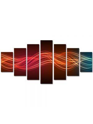 Set Tablouri Multicanvas 7 Piese Abstract Decorativ Unde luminoase
