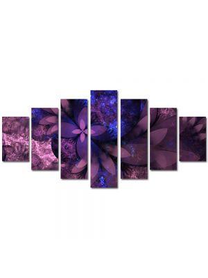 Set Tablouri Multicanvas 7 Piese Abstract Decorativ Flori violet