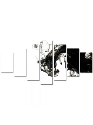 Set Tablouri Multicanvas 7 Piese Abstract Decorativ Fum B&W