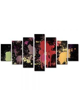 Set Tablouri Multicanvas 7 Piese Abstract Decorativ Pete de vopsea