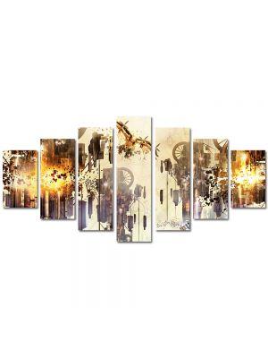 Set Tablouri Multicanvas 7 Piese Abstract Decorativ Mecanic