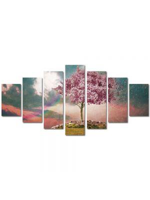 Set Tablouri Multicanvas 7 Piese Abstract Decorativ Copac roz
