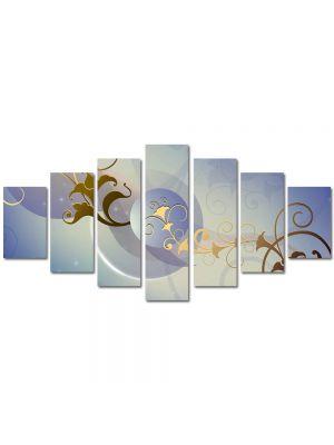 Set Tablouri Multicanvas 7 Piese Abstract Decorativ Motive florale