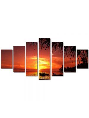 Set Tablouri Multicanvas 7 Piese Abstract Decorativ Apus exotic