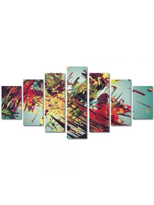 Set Tablouri Multicanvas 7 Piese Abstract Decorativ Vintage abstract