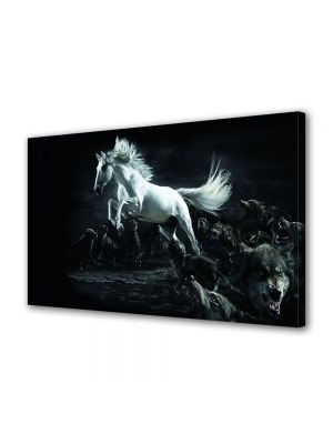 Tablou Canvas Luminos in intuneric VarioView LED Animale Cal alb si lupi negri