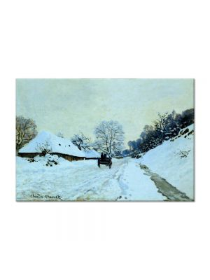 Tablou Arta Clasica Pictor Claude Monet Cart on the Snow Covered Road with Saint-Simeon Farm 1865 80 x 120 cm