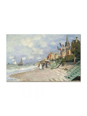 Tablou Arta Clasica Pictor Claude Monet The Boardwalk on the Beach at Trouville 1870 80 x 120 cm