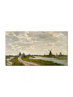 Tablou Arta Clasica Pictor Claude Monet Windmills at Haaldersbroek, Zaandam 1871 80 x 140 cm
