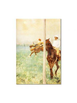 Tablou Arta Clasica Pictor Edgar Degas Jockeys before the Start with Flagpoll 1879 80 x 100 cm