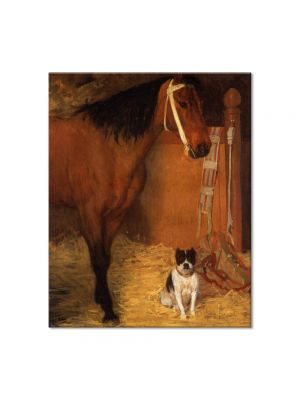 Tablou Arta Clasica Pictor Edgar Degas At the Stables, Horse and Dog 1861 80 x 100 cm