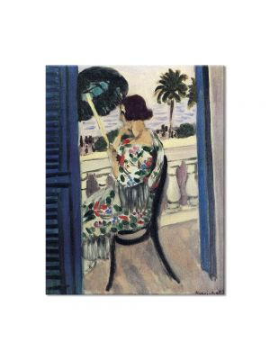Tablou Arta Clasica Pictor Henri Matisse Woman on a Balcony with Green Umbrella in Profile 1919 80 x 100 cm