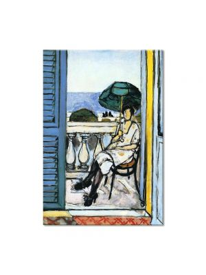 Tablou Arta Clasica Pictor Henri Matisse Woman with a Green Parasol on a Balcony 1919 80 x 100 cm