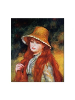 Tablou Arta Clasica Pictor Pierre-Auguste Renoir Young girl in a straw hat 1884 80 x 90 cm