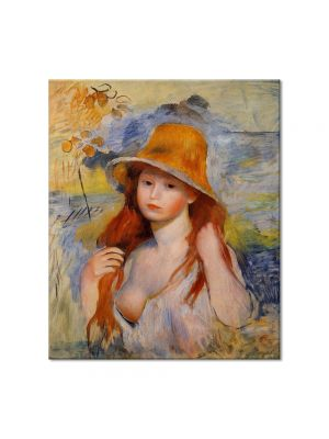 Tablou Arta Clasica Pictor Pierre-Auguste Renoir Young woman in a straw hat 1884 80 x 90 cm