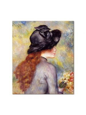 Tablou Arta Clasica Pictor Pierre-Auguste Renoir Young girl holding at bouquet of tulips 1878 80 x 90 cm