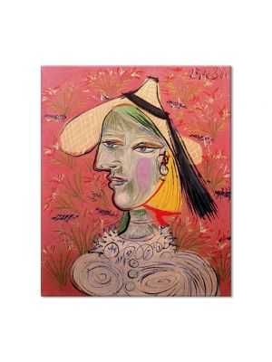 Tablou Arta Clasica Pictor Pablo Picasso Woman with straw hat on flowery background 1938 80 x 90 cm