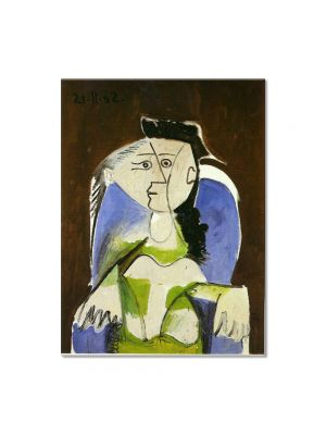Tablou Arta Clasica Pictor Pablo Picasso Woman sitting in blue armchair 1962 80 x 100 cm