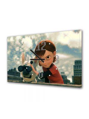 Tablou Canvas cu Ceas Animatie pentru Copii Bolt Penny, 30 x 45 cm