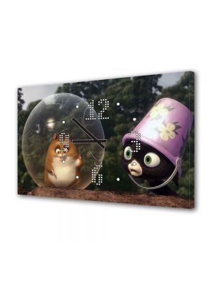 Tablou Canvas cu Ceas Animatie pentru Copii Bolt Rhino, 30 x 45 cm