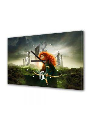 Tablou Canvas cu Ceas Animatie pentru Copii Brave Merida, 30 x 45 cm