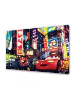 Tablou Canvas cu Ceas Animatie pentru Copii Filmul Cars 2, 30 x 45 cm