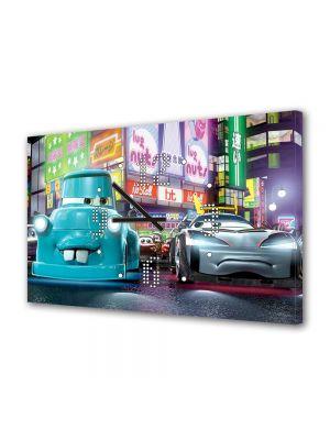 Tablou Canvas cu Ceas Animatie pentru Copii Cars Pixar Film, 30 x 45 cm